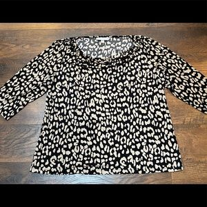 Dana Buchman Animal Print 3/4 Sleeve Cowl Neck XL